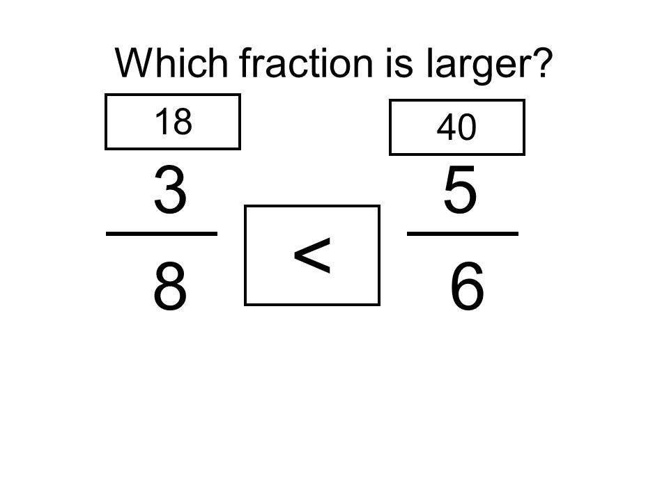 Which fraction is larger? 35 8 6 18 40 <