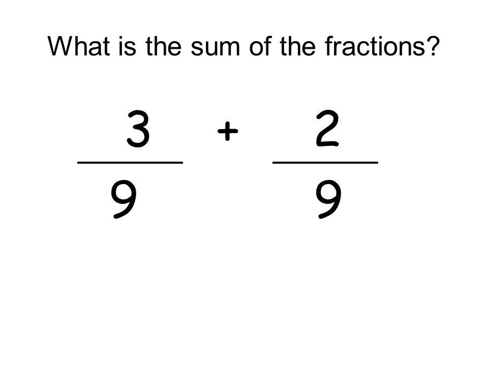 What is the sum of the fractions? 3+ 2 9 9