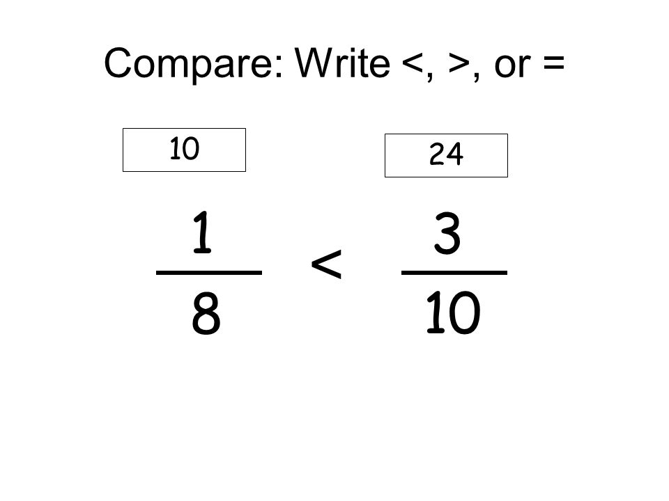 Compare: Write, or = 1 3 8 10 10 24 <