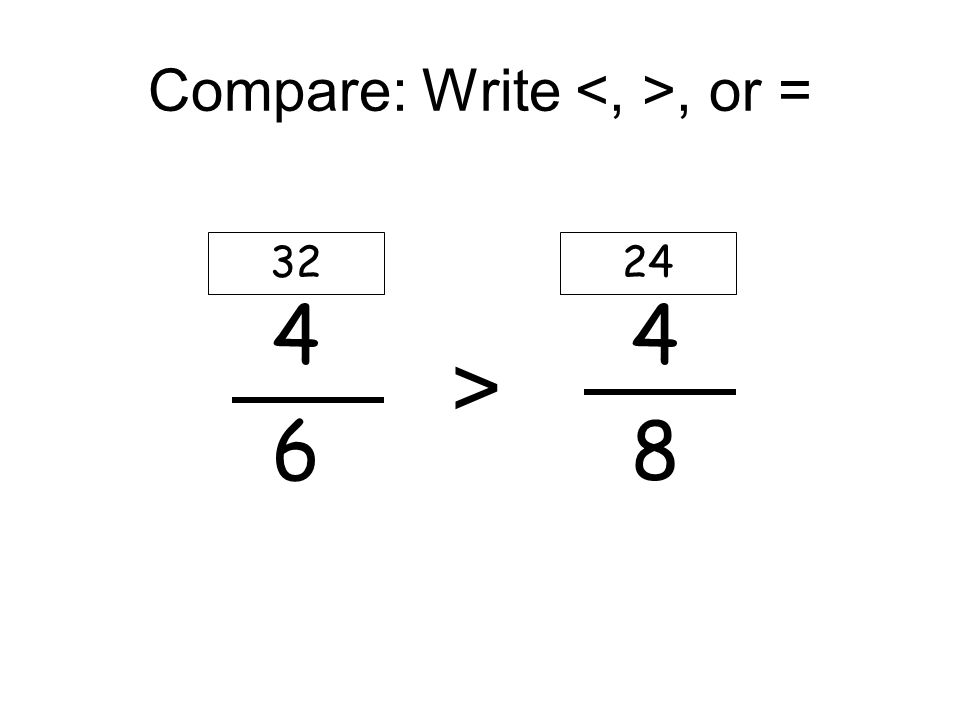 Compare: Write, or = 4 4 6 8 3224 >