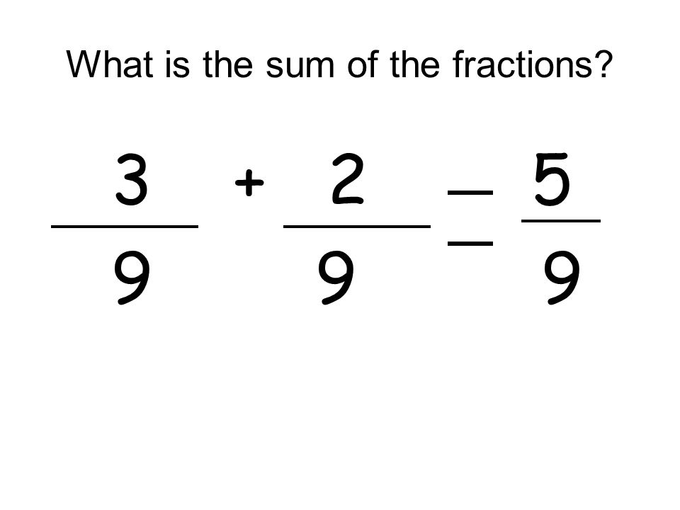 What is the sum of the fractions? 3+ 2 5 9 9 9