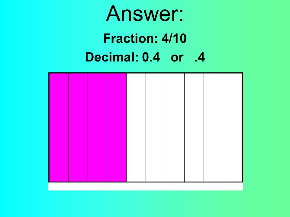 Answer: Fraction: 4/10 Decimal: 0.4 or.4