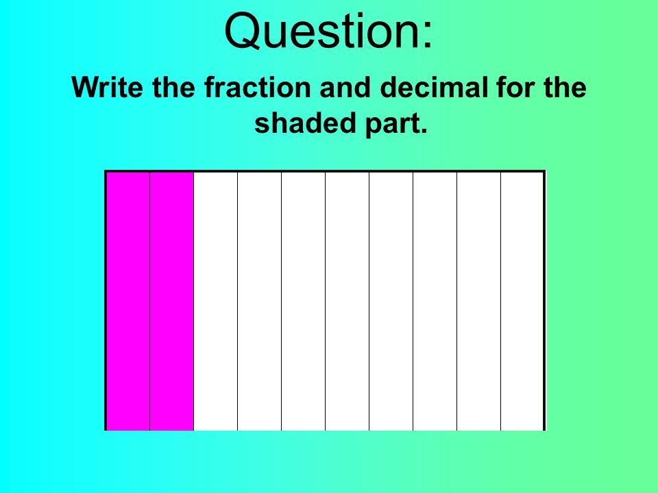 Answer: Fraction: 2/10 Decimal: 0.2 or.2