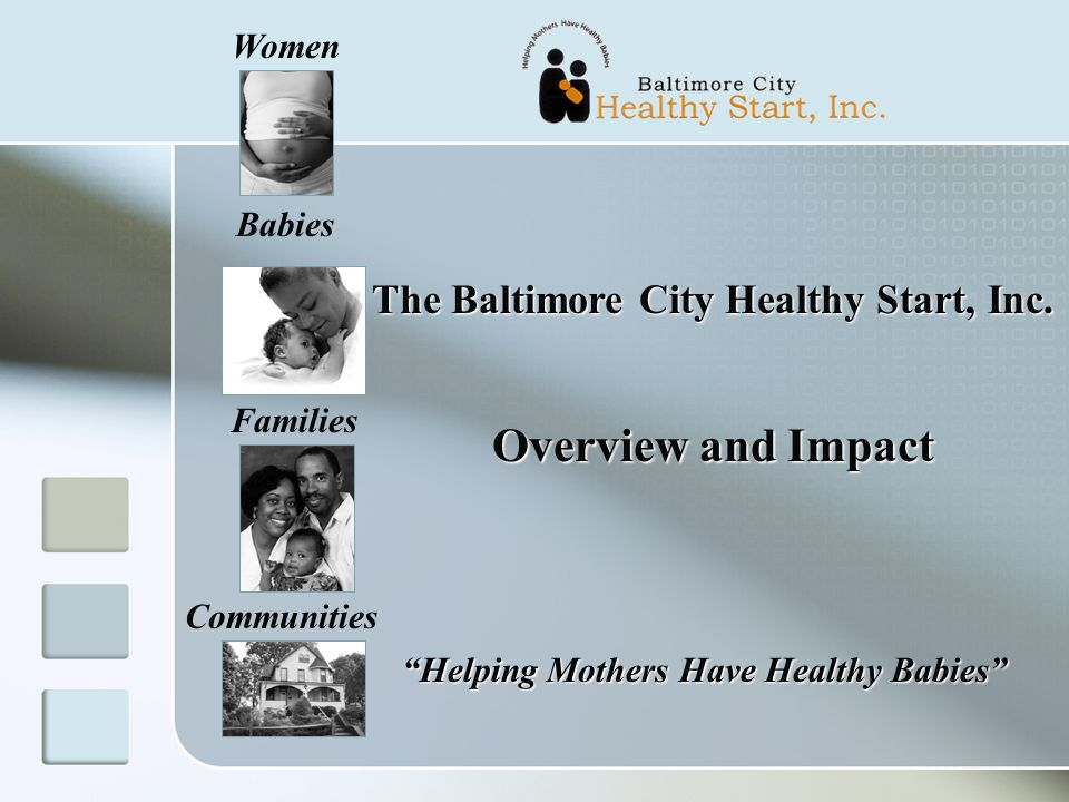 Women Babies Families Communities The Baltimore City Healthy Start, Inc.