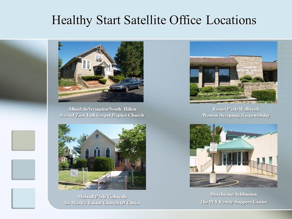 Healthy Start Satellite Office Locations Allendale/Irvington/South Hilton Sacred Zion Full Gospel Baptist Church Morrell Park/Violetville St.