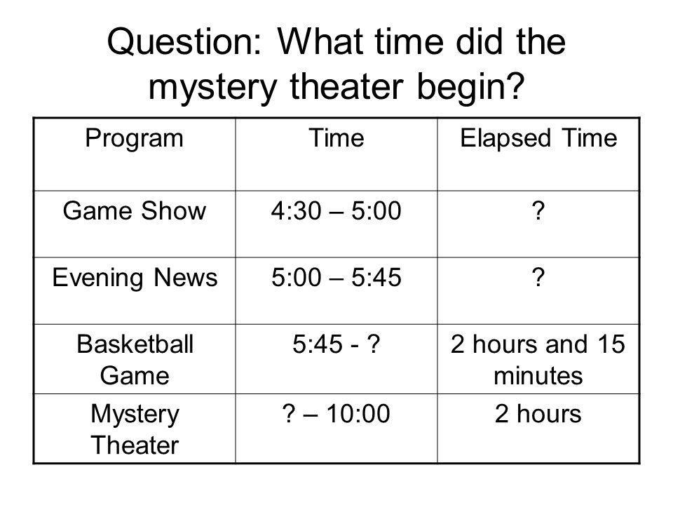 Question: What time did the mystery theater begin.