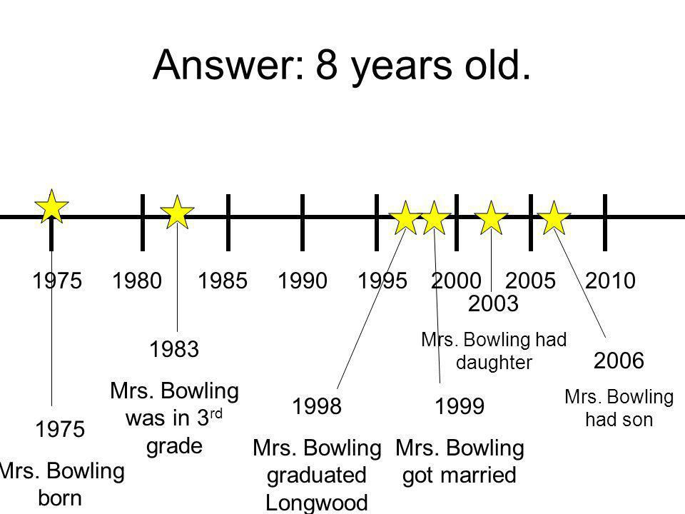 Answer: 8 years old. 19751980198519901995200020052010 1975 Mrs.