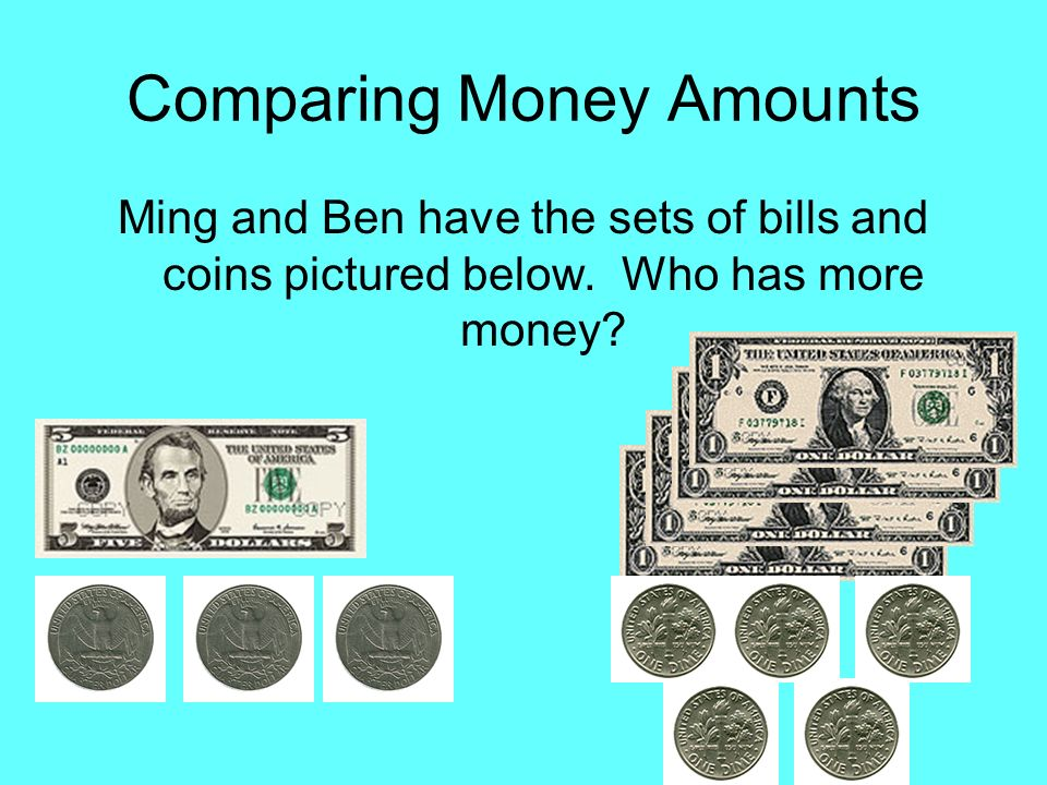 Comparing Money Amounts Ming and Ben have the sets of bills and coins pictured below.