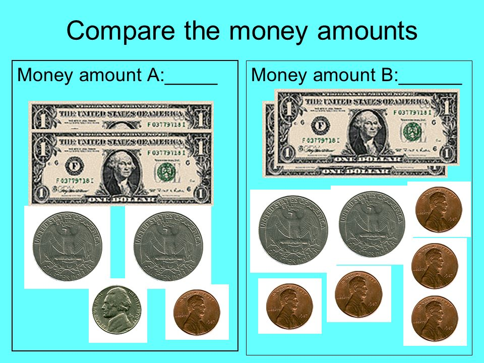 Compare the money amounts Money amount A:_____ Money amount B:______