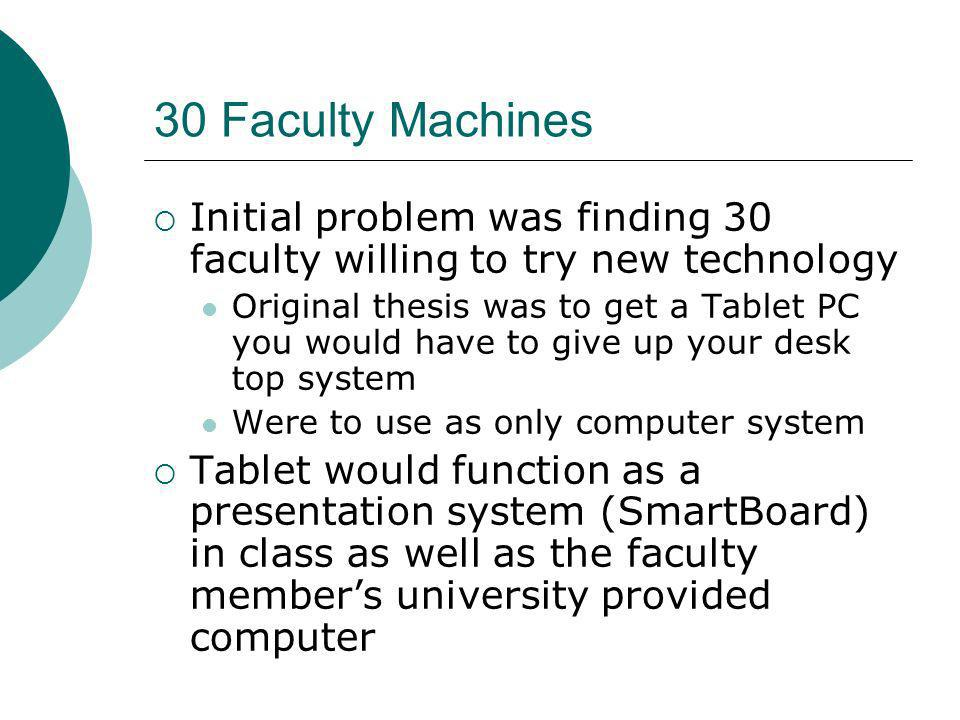 30 Faculty Machines Initial problem was finding 30 faculty willing to try new technology Original thesis was to get a Tablet PC you would have to give up your desk top system Were to use as only computer system Tablet would function as a presentation system (SmartBoard) in class as well as the faculty members university provided computer