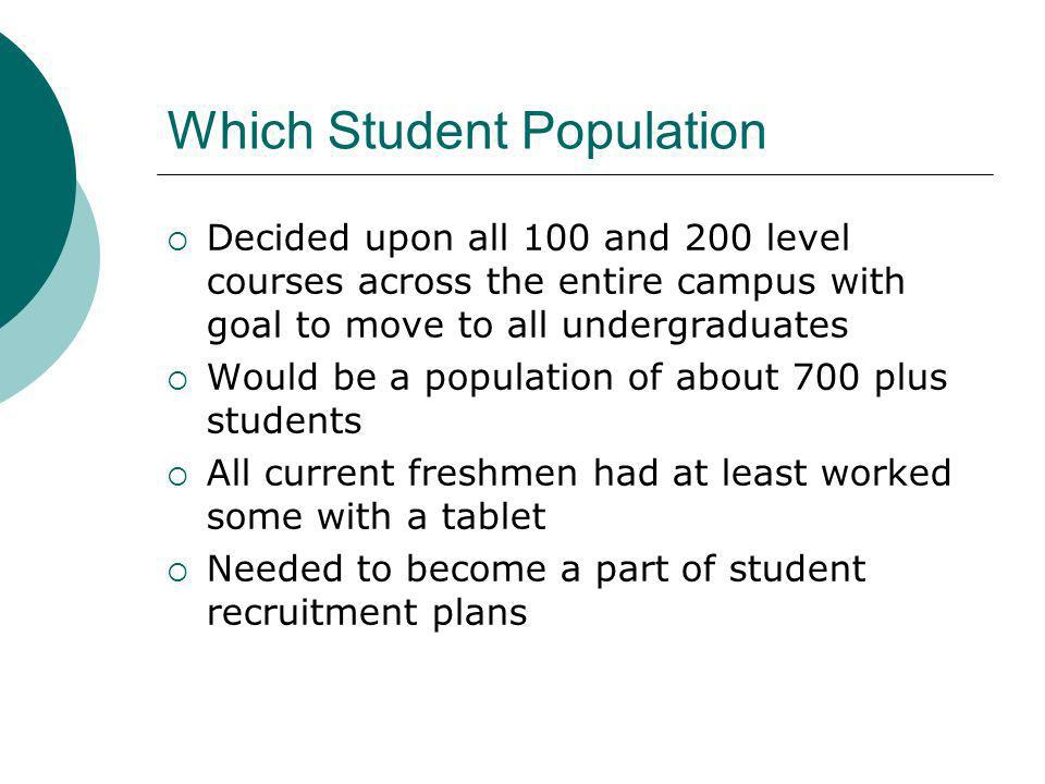 Which Student Population Decided upon all 100 and 200 level courses across the entire campus with goal to move to all undergraduates Would be a population of about 700 plus students All current freshmen had at least worked some with a tablet Needed to become a part of student recruitment plans