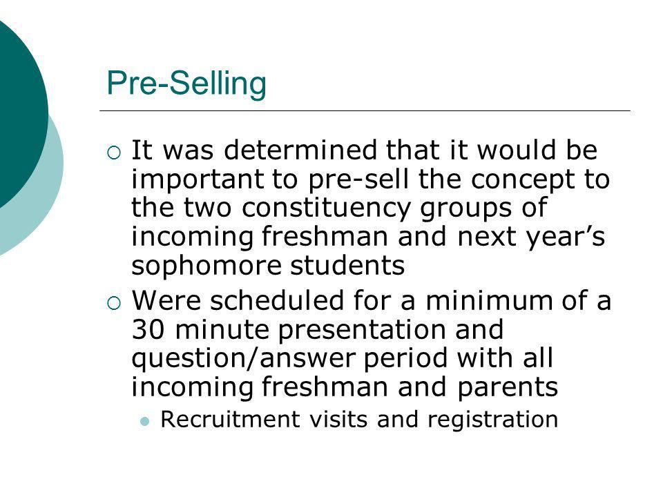 Pre-Selling It was determined that it would be important to pre-sell the concept to the two constituency groups of incoming freshman and next years sophomore students Were scheduled for a minimum of a 30 minute presentation and question/answer period with all incoming freshman and parents Recruitment visits and registration