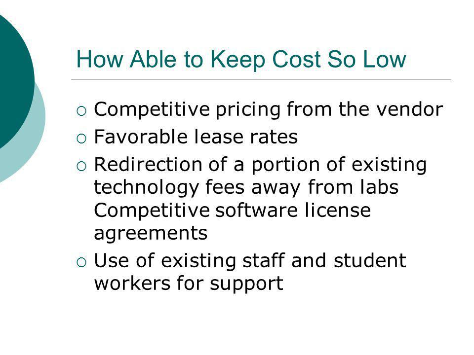 How Able to Keep Cost So Low Competitive pricing from the vendor Favorable lease rates Redirection of a portion of existing technology fees away from labs Competitive software license agreements Use of existing staff and student workers for support