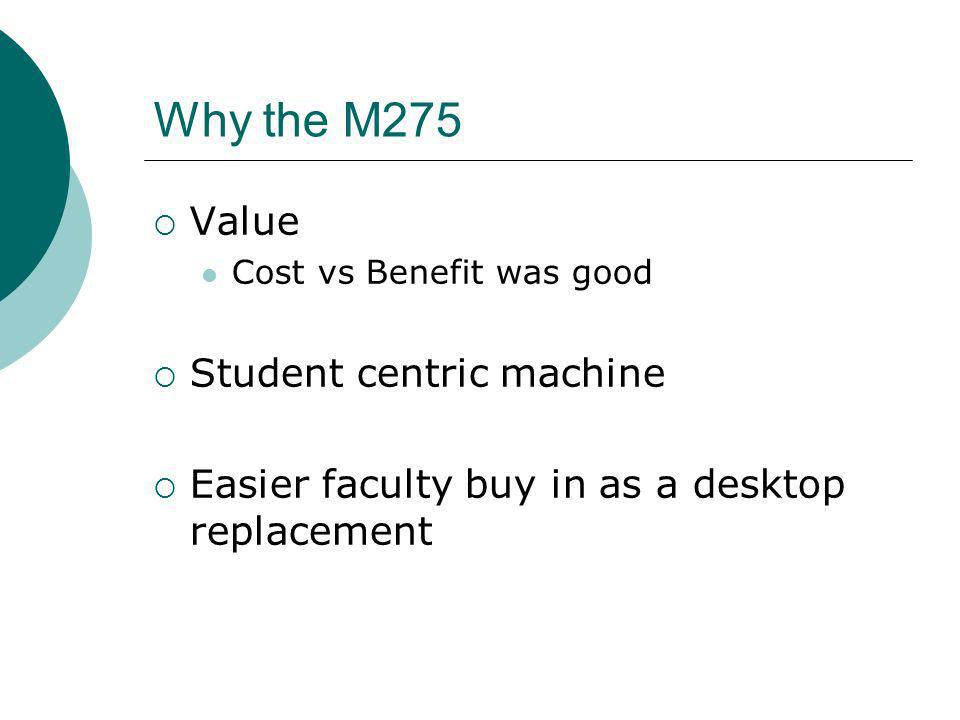Why the M275 Value Cost vs Benefit was good Student centric machine Easier faculty buy in as a desktop replacement