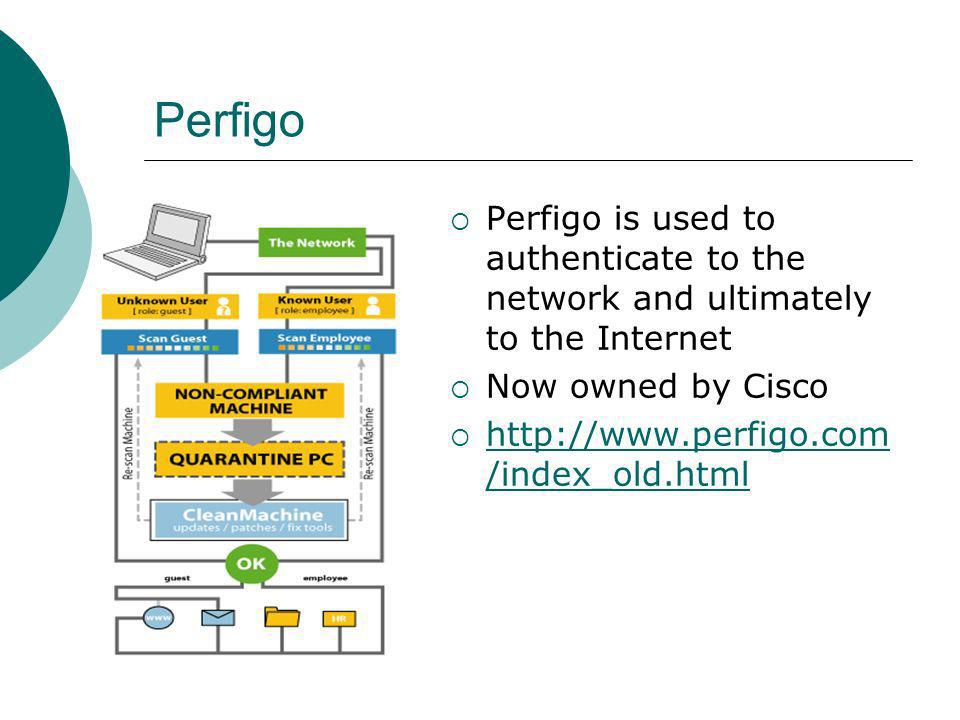 Perfigo Perfigo is used to authenticate to the network and ultimately to the Internet Now owned by Cisco http://www.perfigo.com /index_old.html http://www.perfigo.com /index_old.html
