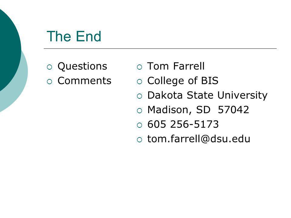 The End Questions Comments Tom Farrell College of BIS Dakota State University Madison, SD 57042 605 256-5173 tom.farrell@dsu.edu