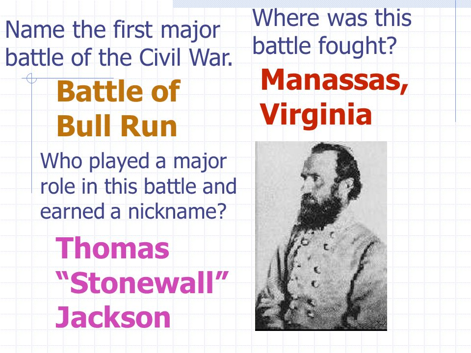 Name the first major battle of the Civil War. Where was this battle fought.