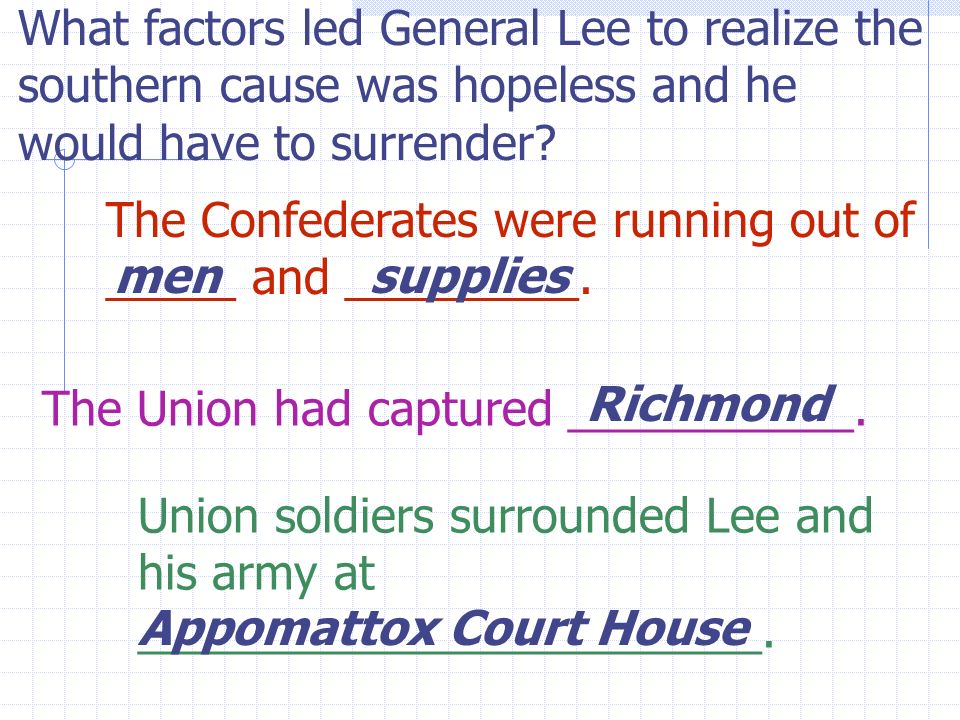 What factors led General Lee to realize the southern cause was hopeless and he would have to surrender.