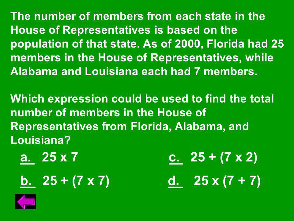 The number of members from each state in the House of Representatives is based on the population of that state.