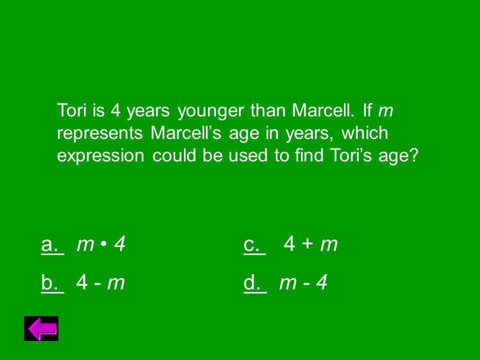 Tori is 4 years younger than Marcell.