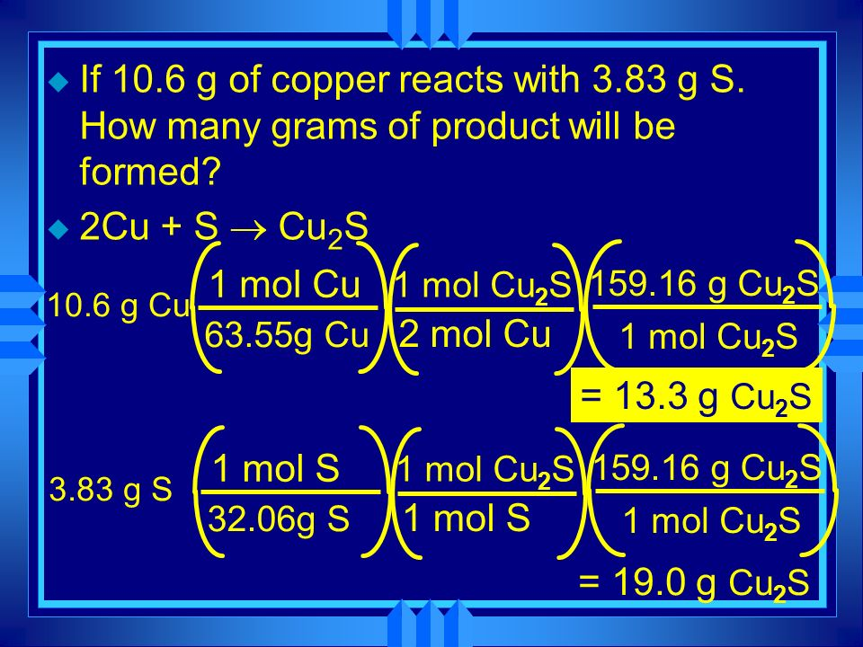 u If 10.6 g of copper reacts with 3.83 g S. How many grams of product will be formed? 2Cu + S Cu 2 S 10.6 g Cu 63.55g Cu 1 mol Cu 2 mol Cu 1 mol Cu 2