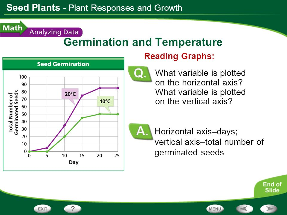Seed Plants Germination and Temperature Horizontal axis–days; vertical axis–total number of germinated seeds Reading Graphs: What variable is plotted