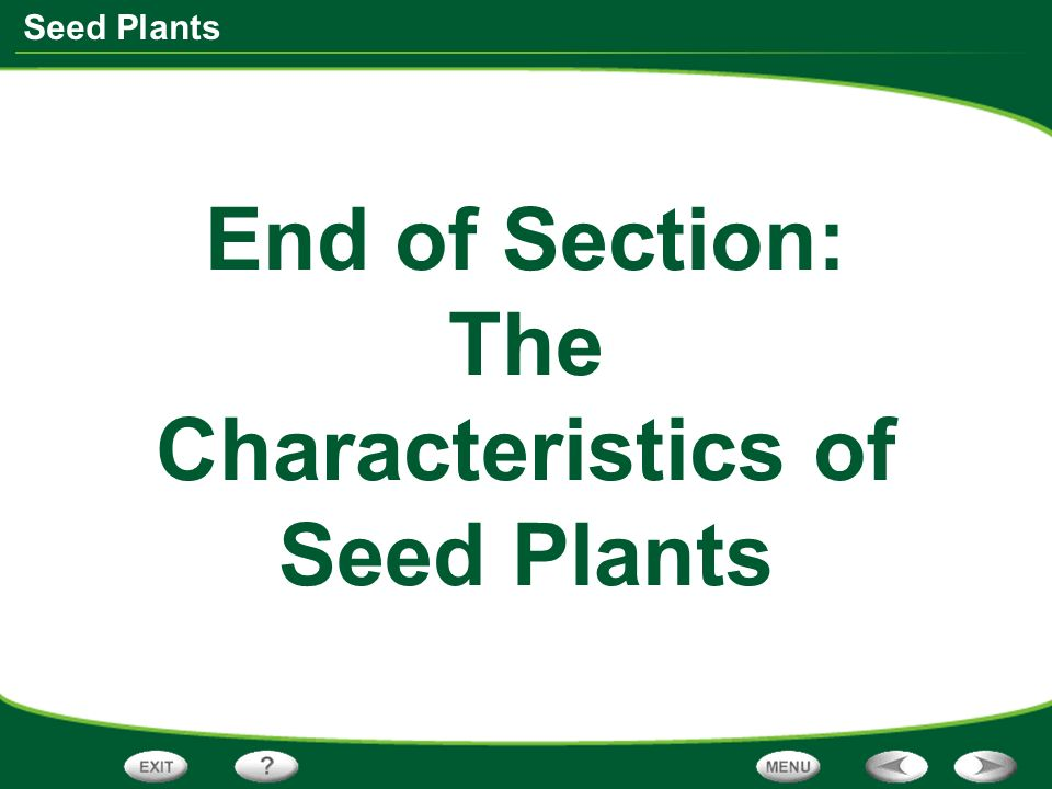 Seed Plants End of Section: The Characteristics of Seed Plants