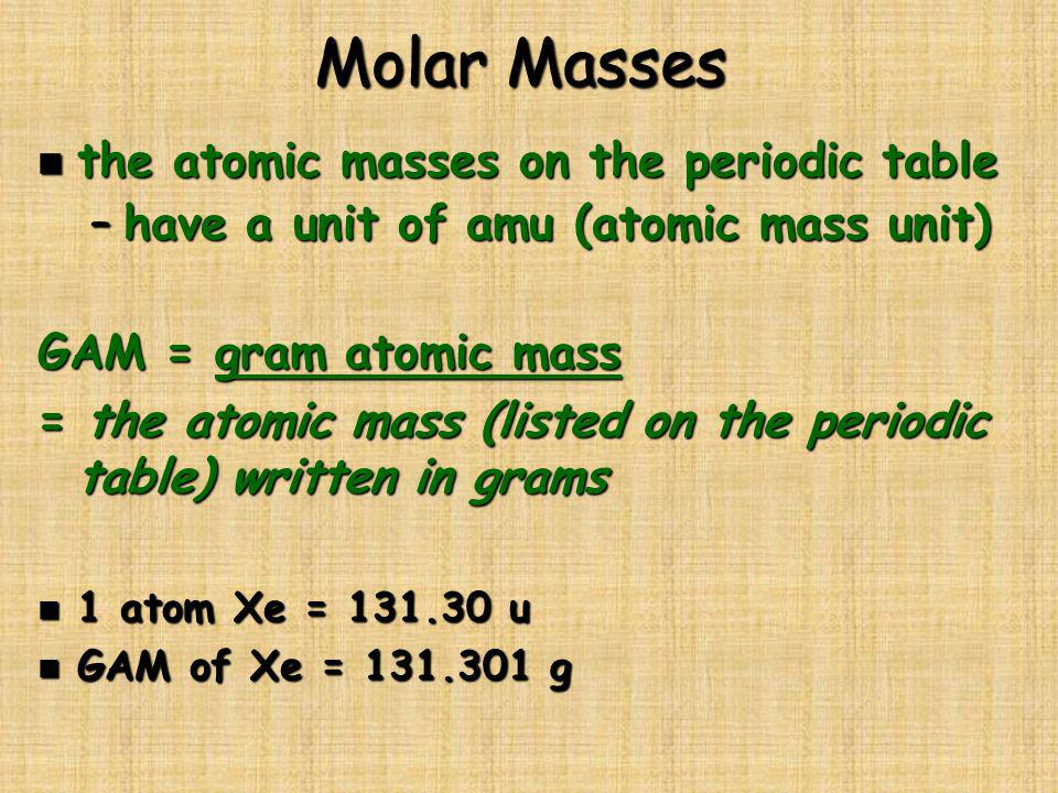 Molar Masses n the atomic masses on the periodic table –have a unit of amu (atomic mass unit) GAM = gram atomic mass = the atomic mass (listed on the