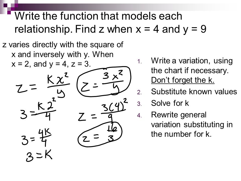 Write the function that models each relationship. Find z when x = 4 and y = 9 z varies directly with the square of x and inversely with y. When x = 2,