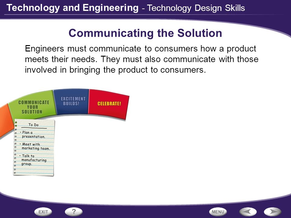 Technology and Engineering - Technology Design Skills Communicating the Solution Engineers must communicate to consumers how a product meets their nee