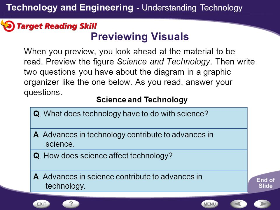 Technology and Engineering When you preview, you look ahead at the material to be read. Preview the figure Science and Technology. Then write two ques