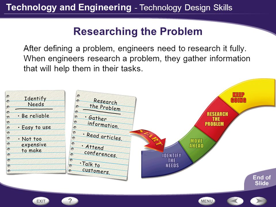Technology and Engineering - Technology Design Skills Researching the Problem After defining a problem, engineers need to research it fully. When engi