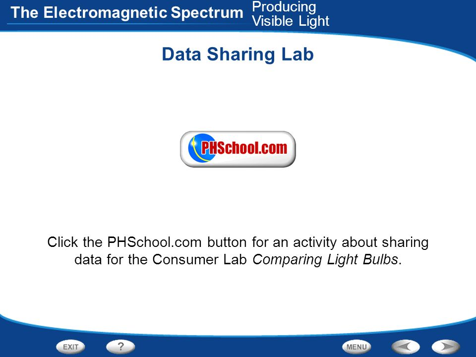 The Electromagnetic Spectrum Data Sharing Lab Click the PHSchool.com button for an activity about sharing data for the Consumer Lab Comparing Light Bu