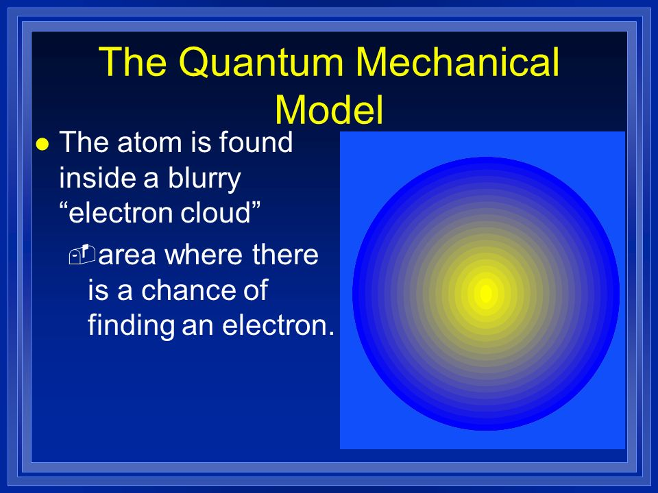 l The atom is found inside a blurry electron cloud - area where there is a chance of finding an electron. The Quantum Mechanical Model