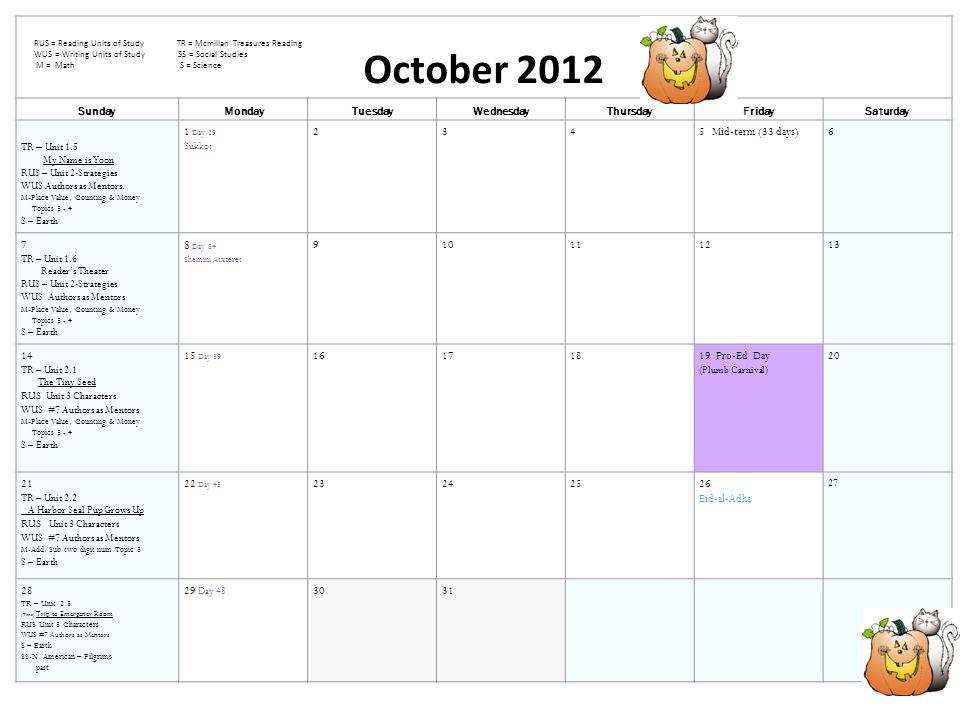 October 2012 SundayMondayTuesdayWednesdayThursdayFridaySaturday TR – Unit 1.5 My Name is Yoon RUS – Unit 2-Strategies WUS Authors as Mentors.
