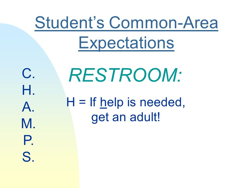 Students Common-Area Expectations RESTROOM: H = If help is needed, get an adult! C. H. A. M. P. S.