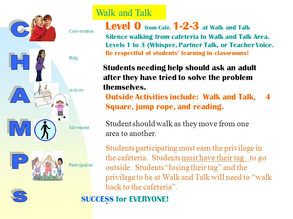 Level 0 from Café. 1-2-3 at Walk and Talk Silence walking from cafeteria to Walk and Talk Area.