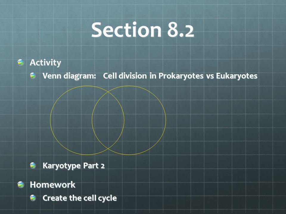 Section 8.2 Activity Venn diagram:Cell division in Prokaryotes vs Eukaryotes Karyotype Part 2 Homework Create the cell cycle