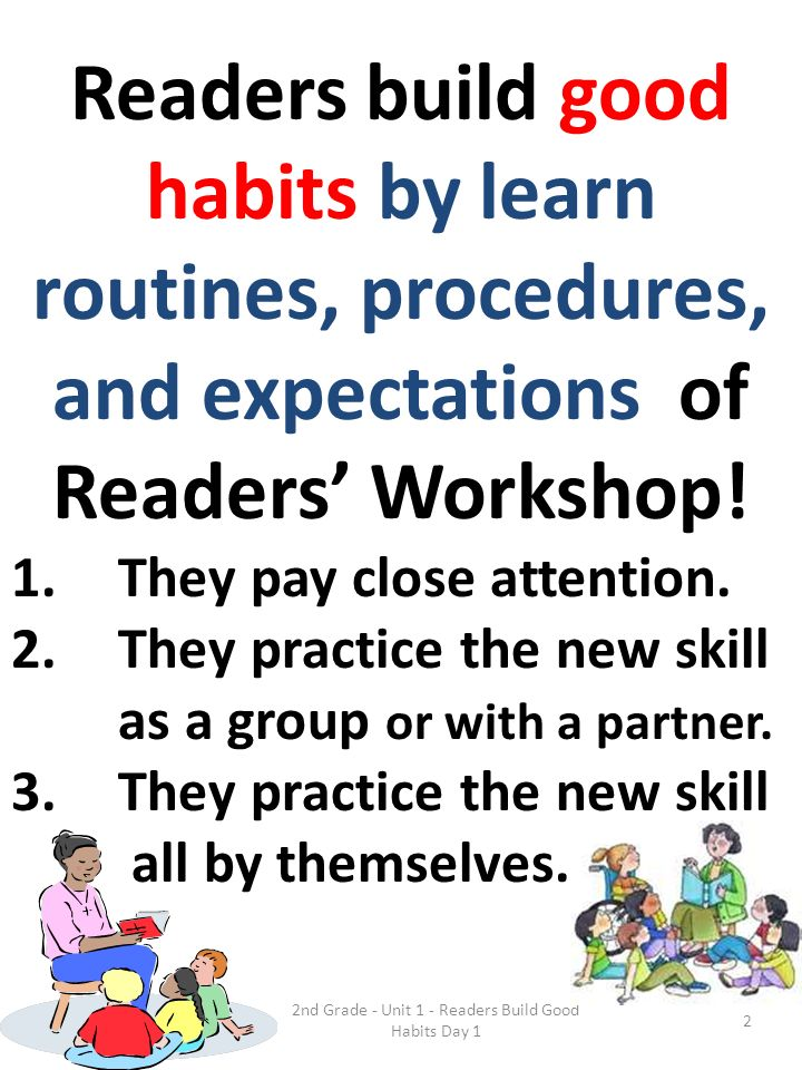 Readers build good habits by learn routines, procedures, and expectations of Readers Workshop! 1.They pay close attention. 2.They practice the new ski