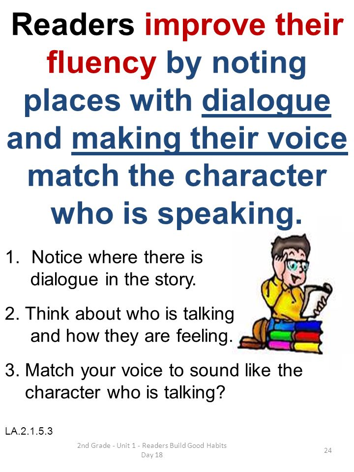 2nd Grade - Unit 1 - Readers Build Good Habits Day 18 Readers improve their fluency by noting places with dialogue and making their voice match the ch