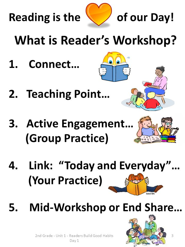 Reading is the of our Day! What is Readers Workshop? 1.Connect… 2. Teaching Point… 3. Active Engagement… (Group Practice) 4.Link: Today and Everyday…