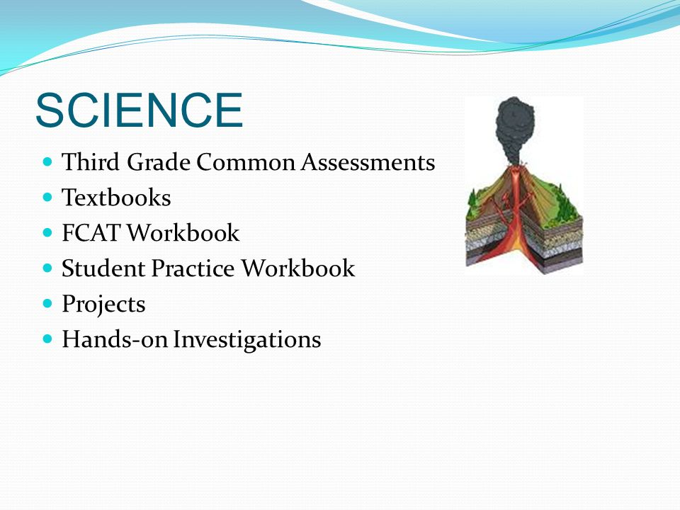 SCIENCE Third Grade Common Assessments Textbooks FCAT Workbook Student Practice Workbook Projects Hands-on Investigations