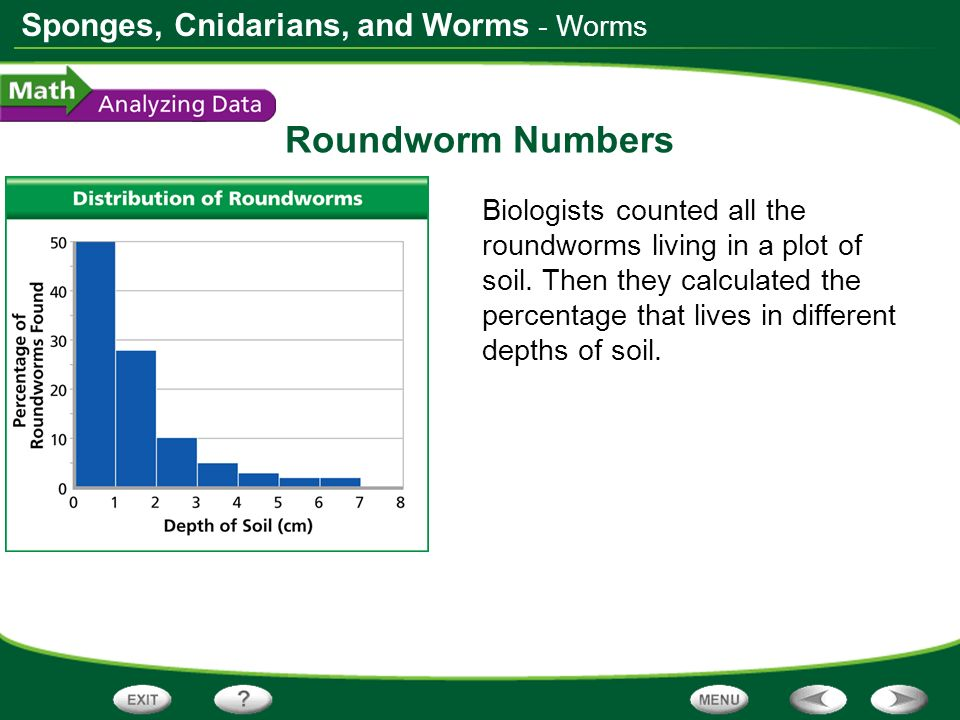 Sponges, Cnidarians, and Worms Roundworm Numbers Biologists counted all the roundworms living in a plot of soil. Then they calculated the percentage t