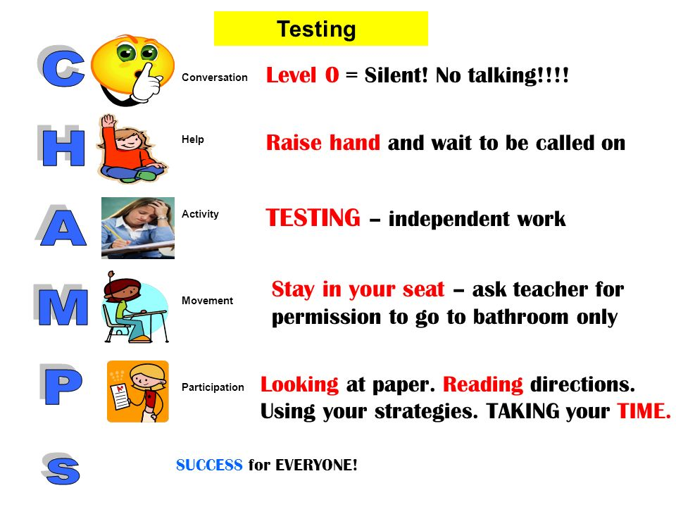 Level 0 = Silent! No talking!!!! Raise hand and wait to be called on TESTING – independent work Stay in your seat – ask teacher for permission to go t