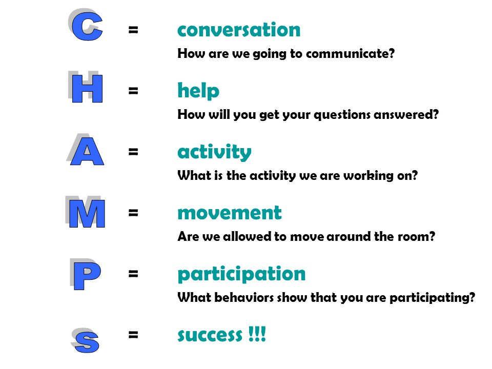 =conversation How are we going to communicate? =help How will you get your questions answered? =activity What is the activity we are working on? =move