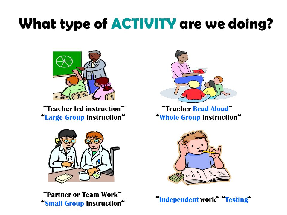 What type of ACTIVITY are we doing? ~Teacher led instruction~ ~Large Group Instruction~ ~Teacher Read Aloud~ ~Whole Group Instruction~ ~Partner or Tea