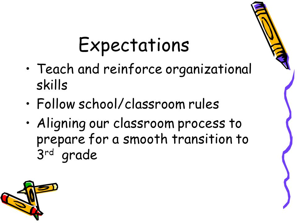 Expectations Teach and reinforce organizational skills Follow school/classroom rules Aligning our classroom process to prepare for a smooth transition to 3 rd grade