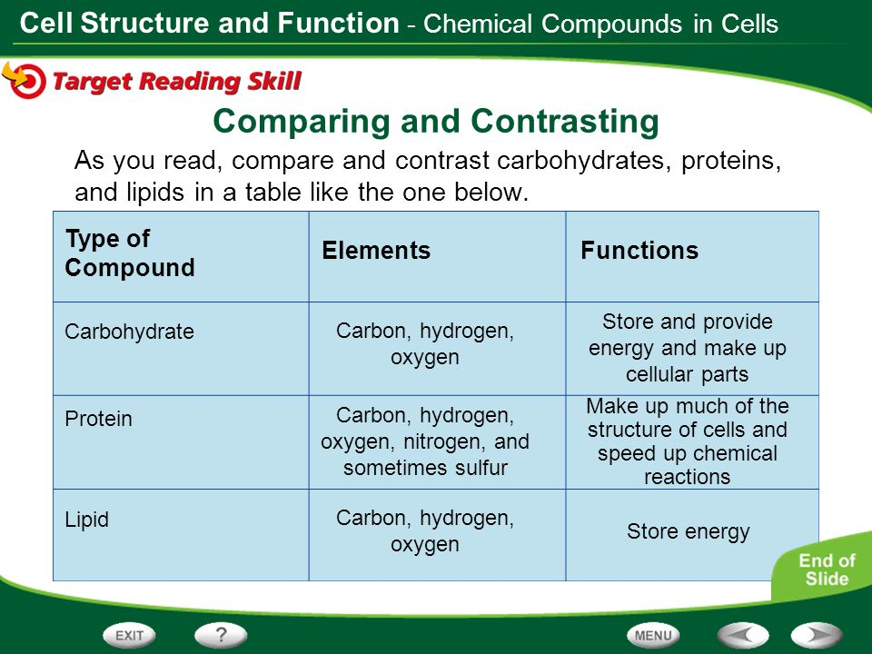 Cell Structure and Function Type of Compound ElementsFunctions As you read, compare and contrast carbohydrates, proteins, and lipids in a table like t