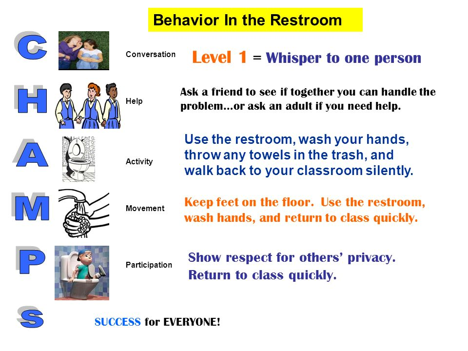 Level 1 = Whisper to one person Ask a friend to see if together you can handle the problem…or ask an adult if you need help. Use the restroom, wash yo