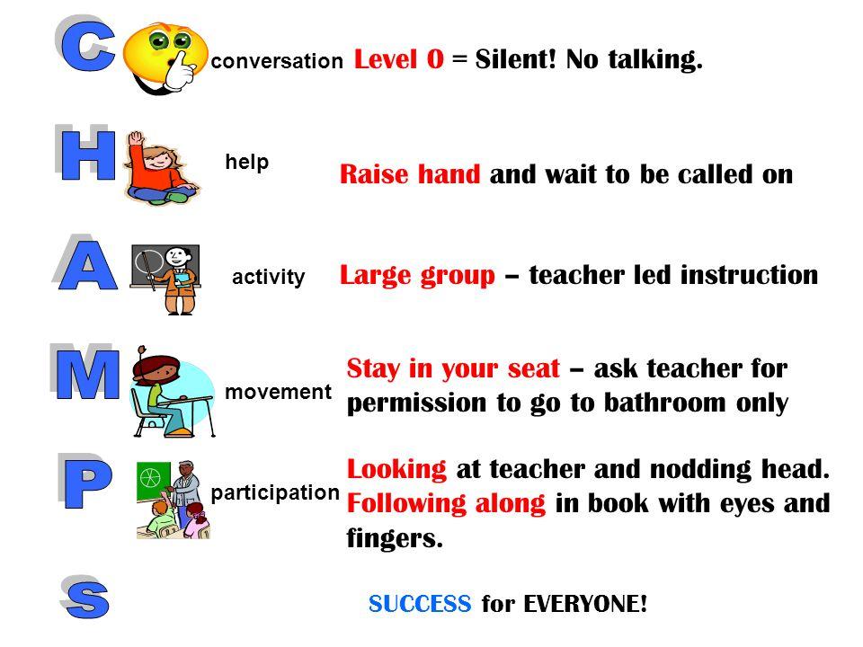 Level 0 = Silent.No talking.